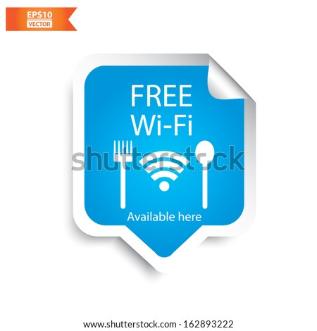 Vector: Free wifi  restaurant sticker with blue color. Eps10. - stock vector