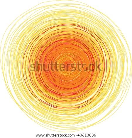 Vector freehand illustration of bright yellow shining sun - stock vector
