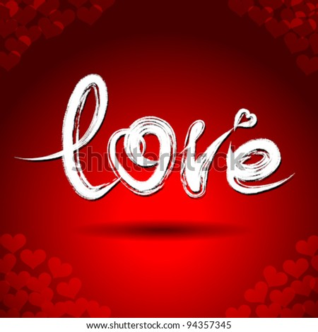 "Vector freehand letters ""love""  text doodles on red heart shape pattern background"