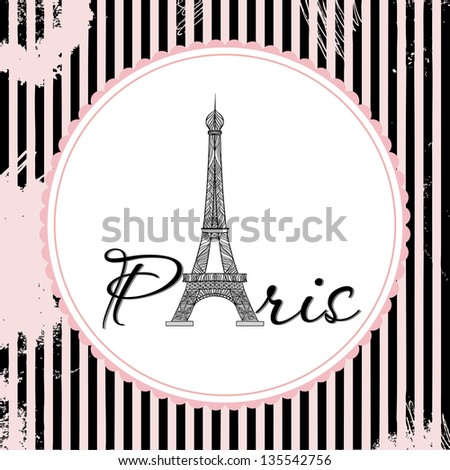 Vector French Card about  Paris. Eiffel Tower consist of ornament - stock vector