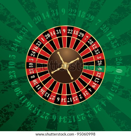vector french roulette wheel on green grunge background - stock vector