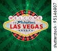 vector french roulette wheel with Las Vegas sign - stock photo
