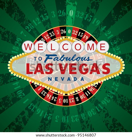 vector french roulette wheel with Las Vegas sign - stock vector