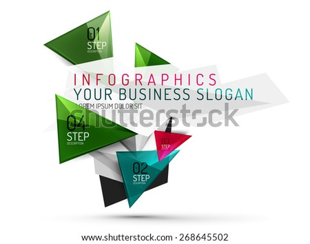 Vector fresh business abstract infographics on 3d triangular background - stock vector