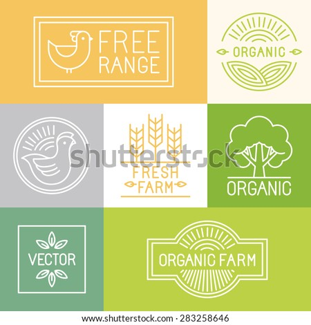 Vector fresh farm and free range labels and badges in trendy linear style - icons and signs for food industry  - stock vector
