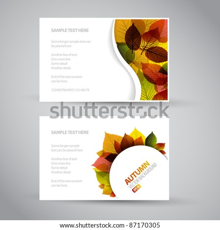 Vector Fresh natural fall banners with leafs and sample text - stock vector