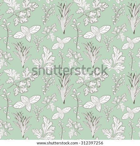 Vector fresh parsley, thyme, rosemary, and basil herbs. Aromatic leaves used to season meats, poultry, stews, soups, Bouquet granny. Seamless pattern - stock vector