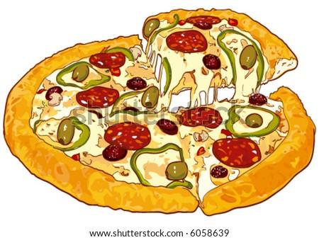 Vector. Fresh pizza - stock vector