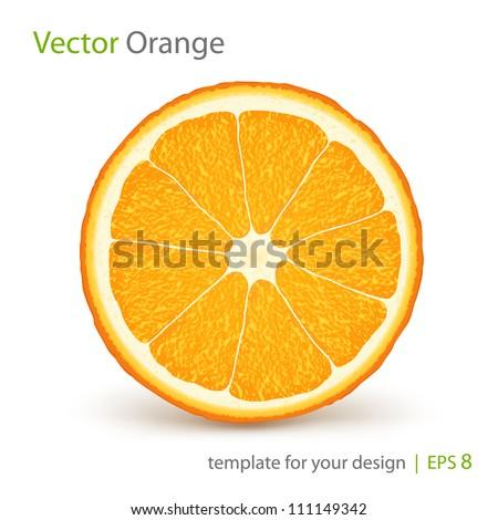 Vector fresh ripe slice of orange on white. Healthy food - stock vector