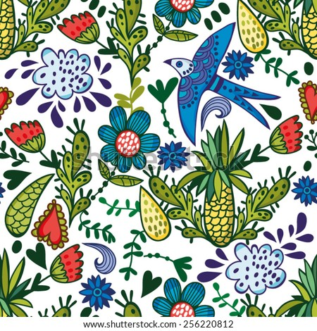 Vector fresh seamless pattern of plants cactus and birds. Endless background. Ethnic seamless pattern. Vector backdrop. Summer template. Use for wallpaper,pattern fills, web page background. - stock vector