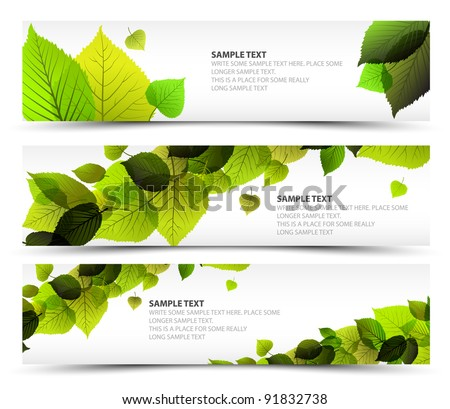 Vector Fresh spring horizontal banners with leafs and sample text - stock vector