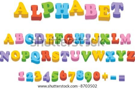 Vector fridge magnet alphabet spelling letters - stock vector