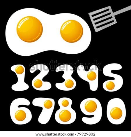 vector fried eggs alphabet - stock vector