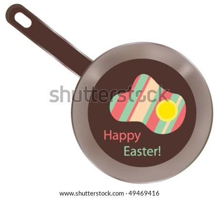 Vector fried eggs - holiday card - stock vector