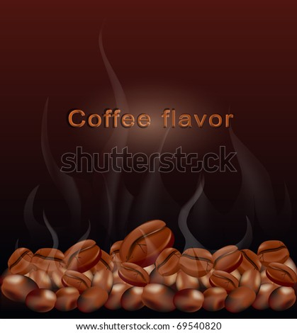 Vector fried hot coffee beans on a brown background - stock vector