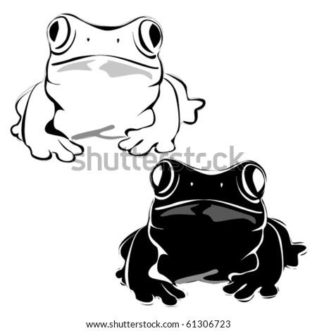Vector frog silhouette on the white background - stock vector