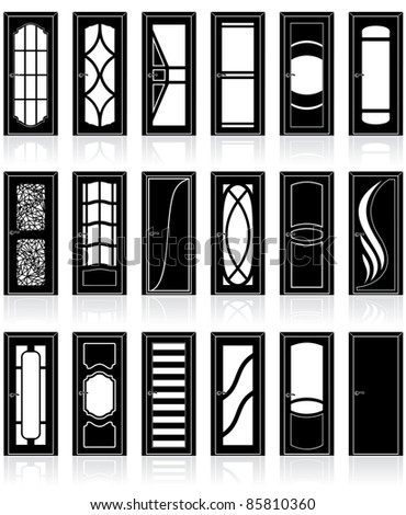 Vector front, interior, cabinet and office doors silhouettes, vector clip art of decor detail - stock vector