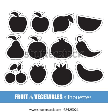 Vector fruit and vegetables silhouettes clip-art - stock vector