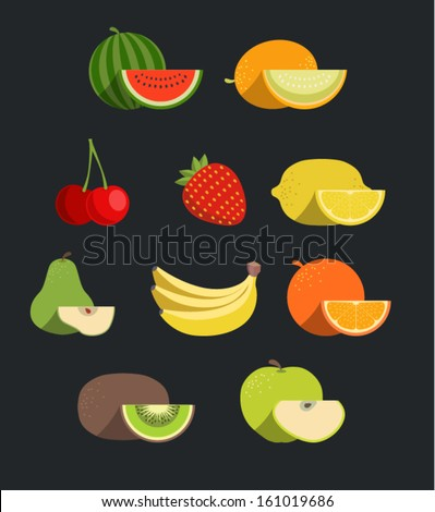 Vector fruit icon set
