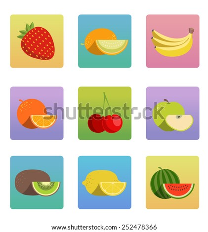 Vector fruit icon set - stock vector