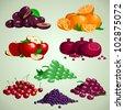 Vector fruit set, plums, oranges, apples, grapes, cheries, blackberries, granades - stock vector