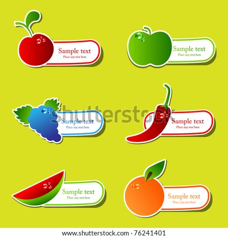 Vector fruit sticker set - stock vector