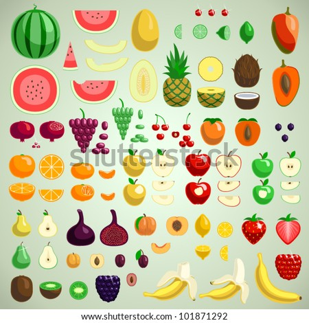 Vector fruits collection, graphic designer's friend edition - stock vector