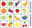 vector - Fruits, Gingham Frame. 16 fresh fruits, melons, citrus and berries in polka dot design, black and white check frame. EPS8 organized in groups for easy editing. - stock photo