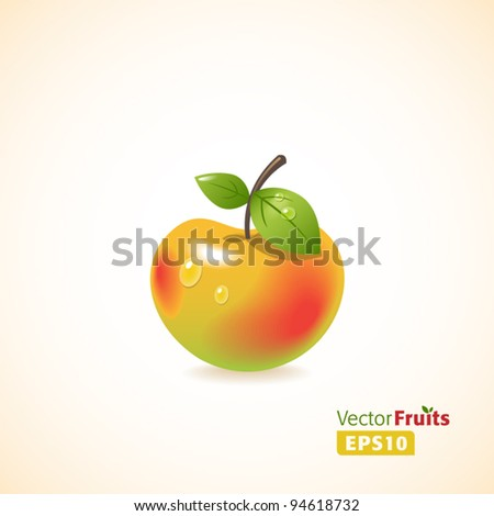 Vector fruits illustration. Apple - stock vector