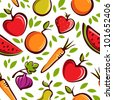 Vector fruits pattern - stock photo