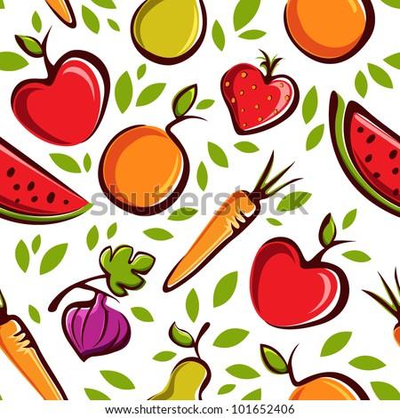 Vector fruits pattern - stock vector