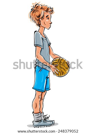 Vector full-length drawing of a Caucasian red-haired teenager with a soccer ball, hand-drawn side view of youngster wearing t-shirt, blue shorts and sneakers, colorful illustration of standing boy. - stock vector