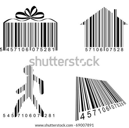 Vector fun bar codes set - stock vector