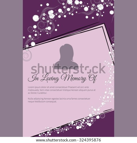 Vector funeral card with elegant abstract floral motif, place for text and photo - stock vector