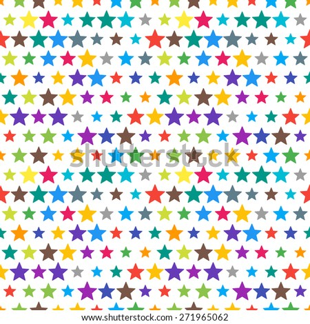 Vector funky colorful seamless pattern with random material design colors. Festive tiled star icon pattern. - stock vector