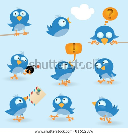 Vector funny birds icon set - stock vector