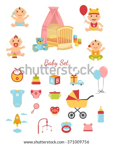Vector funny cute baby boy and girl. Illustration of cartoon sitting babies, baby room, toy and goods - stock vector