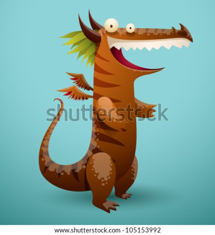 Vector Funny Dragon 5 - stock vector