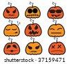 vector funny halloween faces - stock vector