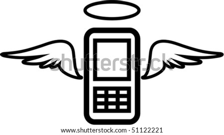 Vector funny mobile phone illustration - Angel - stock vector