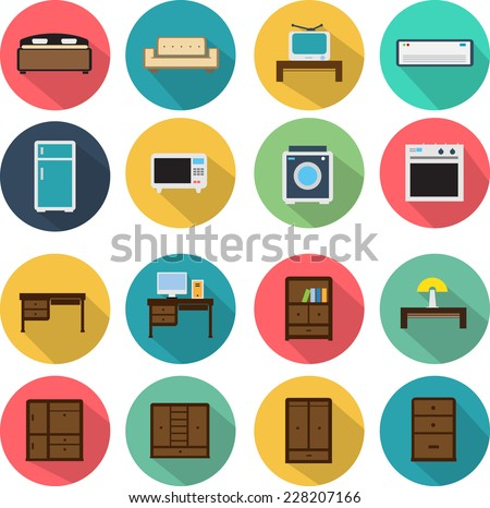 Vector Furniture  flat Icons Set - stock vector