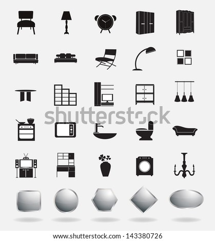 Vector furniture icons - stock vector