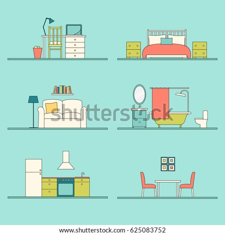 Vector Furniture Of Workplace, Bedroom, Living Room, Bathroom, Kitchen And  Dining Room Part 46