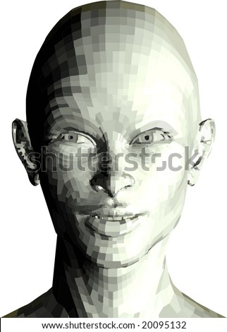 VECTOR: Futuristic 3d face isolated on white - stock vector