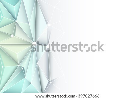 Vector futuristic technology Abstract 3D Geometric, Polygonal, Triangle pattern in molecule structure shape with blue color background for technology business card, template, network and web design - stock vector
