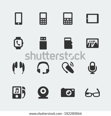 Vector gadget mini icons set - stock vector