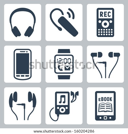 Vector gadgets icons set: headphones, wireless headset, dictaphone, smartphone, smart watch, MP3 player, ebook reader - stock vector