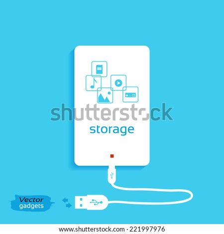 Vector gadgets, isolated on a blue background. Information storage concept background design. Portable Hard Drive - stock vector
