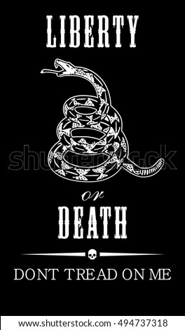 Vector Gadsden Flag Depicting A Rattlesnake Coiled In The Grass And Inscription Dont