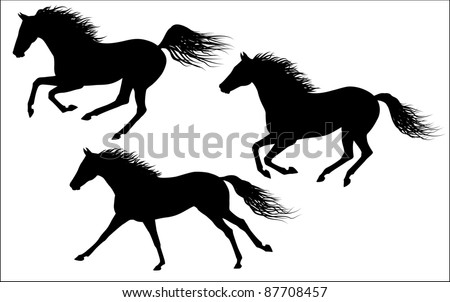 Vector galloping horses - stock vector